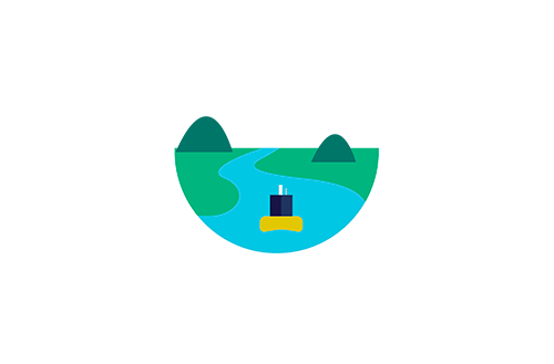 MONOCLE Logo with illustration showing hills and river, data buoy and drone